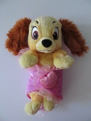 "Disney Parks Lady and the Tramp Babies Plush Stuffed Animal w Blanket 11"" Tall"