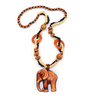 Unisex Long Wooden Lucky Elephant Pendant w/ Beads Jewelry Necklace LH
