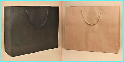 12 x Large Kraft Paper Gift Bags with Cord Handles Gift Wrapping Presents