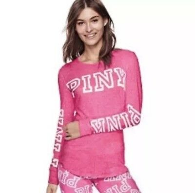 Vs Victorias Secret Pink Cozy Jersey Sleep Shirt Top Pajama Neon Hot Pink Size M