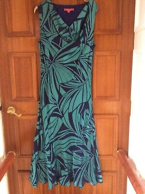 849db9c755b Jacques Vert Size 16 18 Blue Turquoise Silk Mix Dress Wedding Occasion