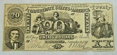 1861 $20 Dollar Bill Richmond Confederate States Civil War Currency Paper Money