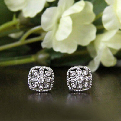 Silver Color Square Crystal Fashion Snowflake for Girls Stud Earrings Jewelry N7