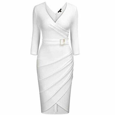 Ladies Fashion V-neck High Waist Buckle Casual Solid Color Pleated Bodycon Dress