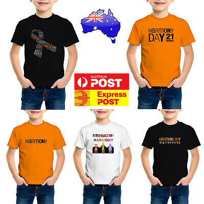 Harmony Day T-Shirts Kid's Adults Children's Funky retro tshirts  Boys girls tee