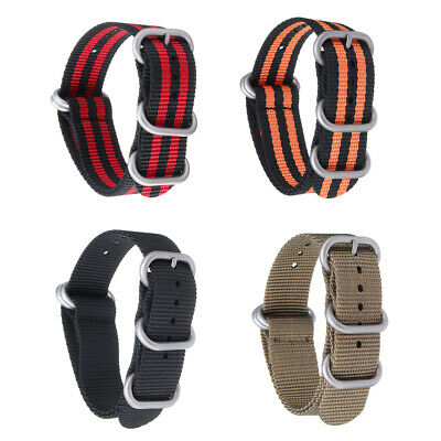 18/20/22/24mm Multicolor Durable Military Nylon Zulu Nat o Strap Watch Bands