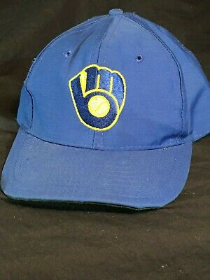 competitive price 335ae 54e58 VTG Milwaukee Brewers Hat MLB Plain Old Logo ULL Embroidered Blue Snapback  Cap