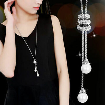 Women Tassel Pearl Pendant Crystal Necklace Long Sweater Chain Costume Jewelry