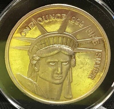Statue Of Liberty .999 Fine Silver Give Me Your Tired Your Poor 1 Troy Oz Round