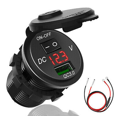12V USB RV Marine Boat Voltmeter Power Socket Plug Outlet Charger Adapter Switch