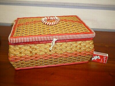 Vintage Sewing Box Wicker And Plastic Tubing Free Post