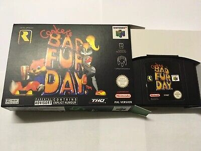 N64 Conkers Bad Fur Day Black Brand New Game UK Pal Version Tested Bargain Box 1