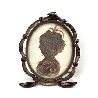 Antique Georgian English Gilt Silhouette of a Lady w Feather Hat - John Miers VR