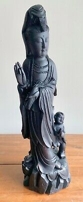 Antique Kwan Yin Sculpture Hand Carved Wood Very Old Wear & Tear 24 inch