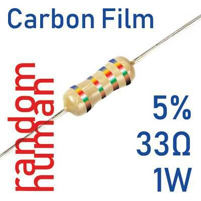 10 to 500 Resistors 33 Ohm 5% 1W carbon film through hole RoHS pb free 33ohm