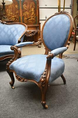 Antique Victorian Carved Walnut Parlor Chair In Wedgwood Blue