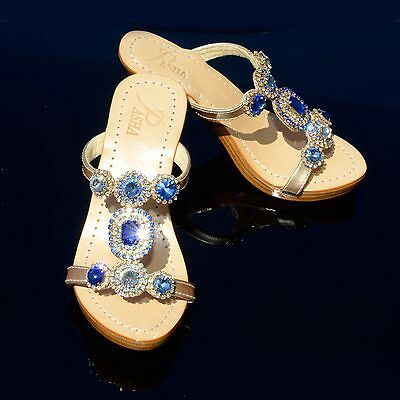 475e93959 Pasha CEBU LIGHT SAPPHIRE crystal jeweled leather sandals