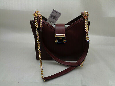 ec5d91f9bab28b MICHAEL KORS WHITNEY Small Chain Leather Shoulder Tote Bag (Oxblood ...