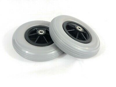"Pair of 8""x 2"" (200x50) Wheelchair (Tyres) Solid Castor Wheels (10mm Bearings)"