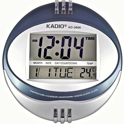 Large or Small Digital Wall Clock Kadio KD-3806 LCD Blue Black Desk Home 2 Line