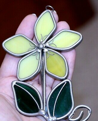 VINTAGE stained GLASS window ornament SUN CATCHER yellow flower green leaves