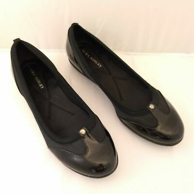 6ab244f88eff Laura Ashley Women 10M Flats Black Patent Microfiber Comfort Ballet Slip On