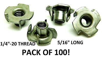 "(Qty 100) 4 Prong T-Nut 1/4""-20 x 5/16"" Tee Nut Plain Steel FREE SHIPPING! HF"