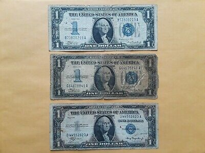 Lot of 6 1928, 1934 & 1935 $1 One Dollar Silver Certificate Funnyback Notes
