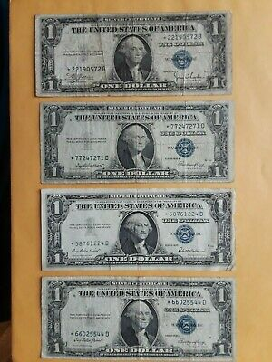 Lot of 8 Silver 1935 & 1957 CERTIFICATE $1 Dollar Bill includes 4 STAR NOTES