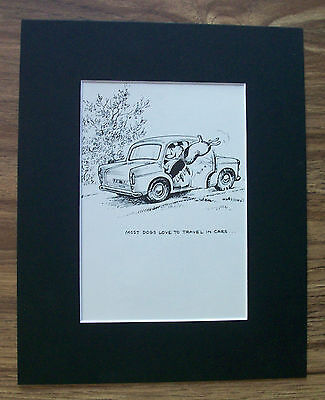 Dog Child Cartoon Print Norman Thelwell Love Car Travel Bookplate 1964 Matted