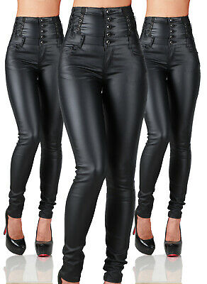 Sexy Women's Stretchy Black Jeans Trousers Skinny High Waisted Wet Look G 014