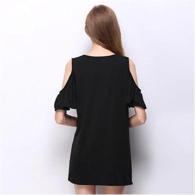Women's Relaxed Cold Shoulder Half Sleeve Shift Mini Dress Baggy Tops LH