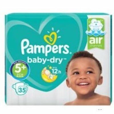 35 Pampers Baby Dry Nappies (Air Channels) Size 5+ (12-17kg, 26-38lb) NEW!
