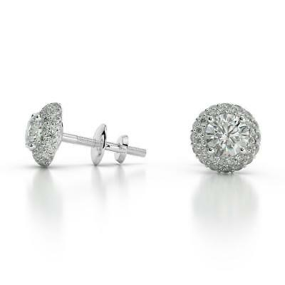 Marriage 1.50 Ct G Si2 Round Cut Diamond Halo Stud Earrings 14 K White Gold