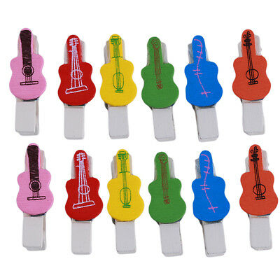 Mini Guitar Colored Wooden Photo Paper Peg Pin Clothespin Craft Clips LH