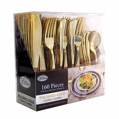 Cutlery Silverware Extra Heavyweight Disposable Flatware Combo Gold 160Ct