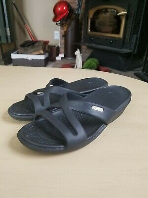 715ca375a8d8 Crocs Patricia II Size 7 Black Strappy Wedge Sandal Slide Synthetic  SB6