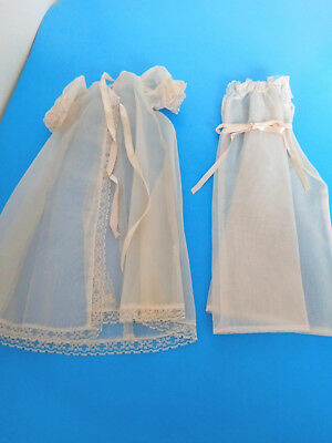 "Vintage 1950's Peignoir 2 Pc. Pink Nylon Nightgown & Robe for 18"" Fashion Doll"