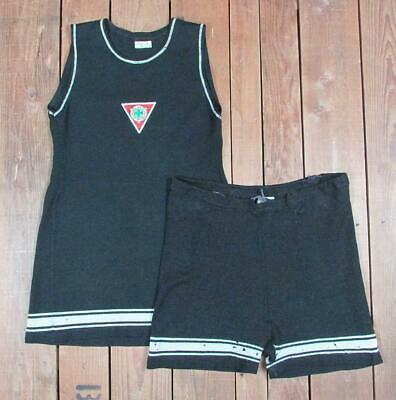 Vintage 1920s Broadway Blk Wool Swimsuit Antique 2 Piece Bathing Suit YMCA Patch
