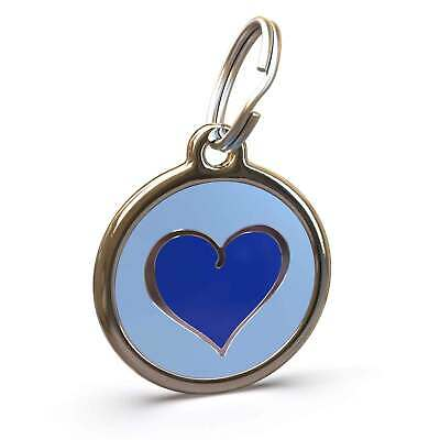 Pet Dog Cat ID Engraved Name Tag Personalised Stainless Steel Blue Heart Love