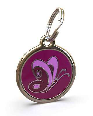 Pet Dog Cat ID Engraved Name Tag Personalised Stainless Steel Purple Butterfly