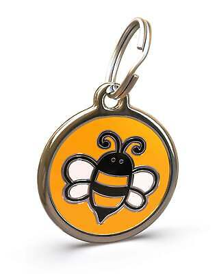 Pet Dog Cat ID Engraved Name Tag Personalised Stainless Steel Yellow Bumble Bee