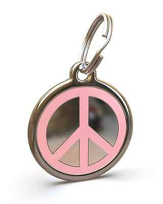 Pet Dog Cat ID Engraved Name Tag Personalised Stainless Steel Pink Peace Symbol