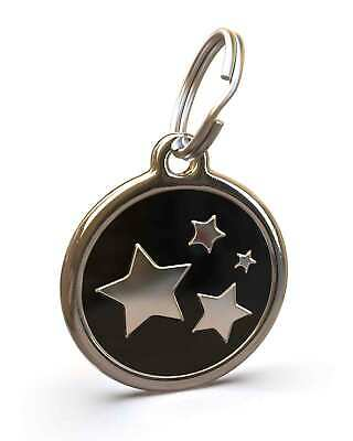 Pet Dog Cat ID Engraved Name Tag Personalised Stainless Steel Black Stars