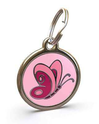 Pet Dog Cat ID Engraved Name Tag Personalised Stainless Steel Pink Butterfly