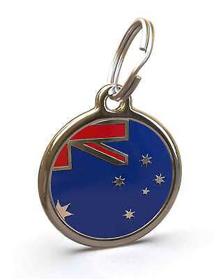 Pet Dog Cat ID Engraved Name Tag Personalised Stainless Steel OZ Australian Flag