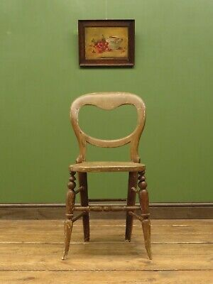 Antique Painted Balloon Back Kitchen Chair, Shabby chic Distressed Dining Chair