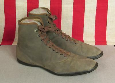 Vintage 1910s Keds Champion High-Top Tennis Sneakers Green Canvas Sz.11 Antique