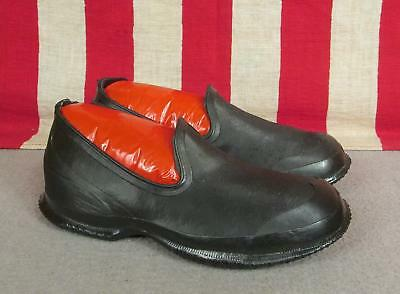 Vintage 1930s Beacon Falls Rain Shoes Black Rubber Galoshes NOS Youth Sz.11 New