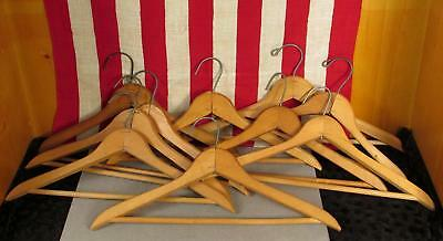 Vintage Antique Wooden Clothing Hangers Clothiers Group of 10 Wood Standard Size